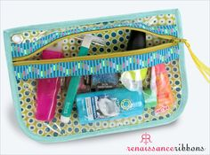 Zippered, See-Through Pouches with Ribbon Accents: Renaissance Ribbons | Sew4Home