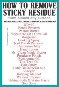 20 Methods To Remove Sticky Adhesive Goo & Gunk From Various Surfaces  Read more: http://removeandreplace.com/2015/01/10/20-methods-to-remove-sticky-adhesive-goo-gunk-from-various-surfaces/#ixzz3OSipRNhN