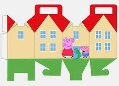 Peppa y George Pig: Caja con Forma de Casa para Imprimir Gratis.