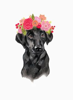 Black Lab Flower Crown by annatyrrell on Etsy