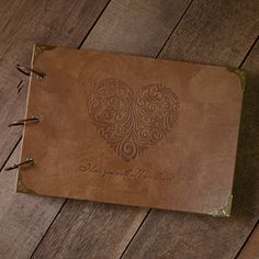 """Waterproof Leather Scrapbook """"I love you with all my heart"""" Embossed 