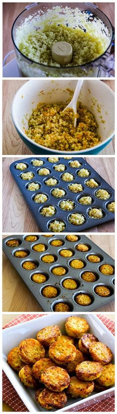 Cheesy Baked Cauiflower Tots - 1/2 large head caulflower, coarsely chopped 1/3 cup reduced-fat sharp cheddar 1/4 cup coarsely grated Parmesan cheese 2 T almond flour 1/2 tsp. Vege-Sal (or a slightly smaller amount of salt) 1/2 tsp. Spike Seasoning (Probably optional, but it does add flavor. You can substitute another all-purpose seasoning blend that tastes good with cauliflower) fresh-ground black pepper to taste 1 egg