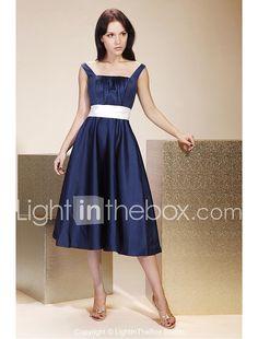 LAN TING BRIDE Tea-length Satin Bridesmaid Dress - A-line / Princess Square / Straps Plus Size / Petite  2017 - €68.59