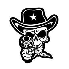 Skull Cowboy Die Cut Vinyl Decal PV1343