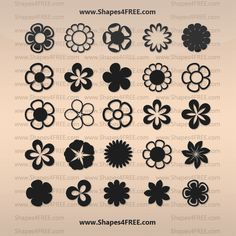 Free Shapes:  25 Flowers Photoshop & Vector Shapes