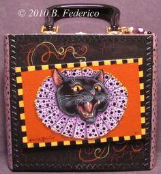 Pt'd Halloween cigar box purse by Becky Federico Whimsical Halloween, Halloween Carnival, Halloween Dress, Halloween Stuff, Halloween Crafts, Cigar Box Purse, Altered Cigar Boxes, Online Friends, Dress Up Costumes