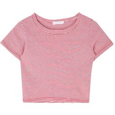 Striped Crop T-Shirt ($46) ❤ liked on Polyvore featuring tops, t-shirts, stripe t shirt, round neck t shirts, crop t shirt, sexy t shirts and pink top
