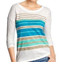 """Old Navy Striped Tee NWOT Soft, lightweight jersey. Rounded neckline. 3/4 length dolman sleeves. Fitted through body. Hits below hips. 100% cotton. Measurements: length 23.75"""", chest 18.75"""". Color is Turquoise Blue Combo. Tag was removed and never worn. Old Navy Tops"""