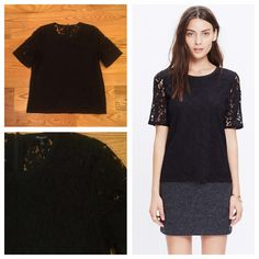 Madewell Lace Refined Tee Madewell black lace tee top. Size small. Worn once. Feel free to ask any questions below or make me an offer! Madewell Tops Blouses