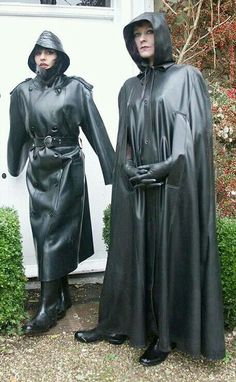 Black Rubber Raincoat and Black Rubber Hooded Cape