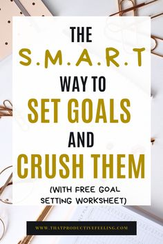I struggled with goal setting until I found this guide that teaches you how to set goals using the smart goal method! It also provides you with FREE goal setting worksheets printables free! Goal Setting Template, Goal Setting Worksheet, Smart Goal Setting, Setting Goals, Goal Settings, Professional Goals, Professional Development, Personal Development, Productivity Challenge
