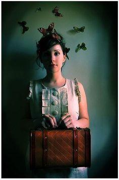 Girl with Suitcase Portrait, 4x6 Photo, The Escape Artist, Butterflies Portrait,. $7.50, via Etsy.