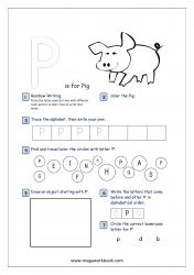 Alphabet Recognition Activity Worksheet - Capital Letter - P For Pig Letter P Worksheets, Letter P Activities, Kindergarten Worksheets, Preschool Math, Alphabet Writing Practice, Alphabet Tracing, Learning Letters, Printable Alphabet, Free Printable