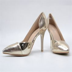 e155191efd150 Size 41 2017 women  High Heels Fashion Bring Gold Pointed Toe Pumps Sexy  Spring Summer Autumn Shoes Thin heels Women SLIM Shoes