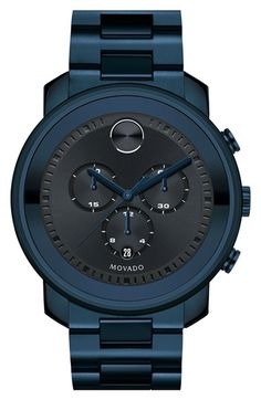 Free shipping and returns on Movado 'Bold' Chronograph Bracelet Watch, 44mm at Nordstrom.com. Precise chronograph complication fine-tunes the sunray dial of this slick monochrome bracelet watch finished with unique ink-blue ionic plating. Movado's signature Museum dot and stylized indexes detail the beautiful look.