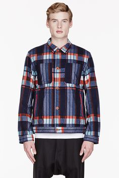 WHITE MOUNTAINEERING Navy & Red Twill Flannel Plaid jacket
