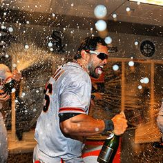 Angel Pagan celebrates #SFGiants #orangeoctober