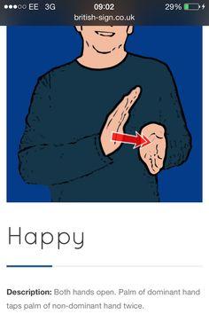 Happy English Sign Language, Sign Language Words, Sign Language Alphabet, British Sign Language, Learn Sign Language, Learn Bsl, Asl Words, Makaton Signs, Quilling Work
