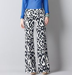 Tall Marisa Wide Leg Pants in Oversized Ikat Print Linen