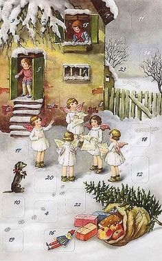 Caroling angels Christmas advent card from Germany