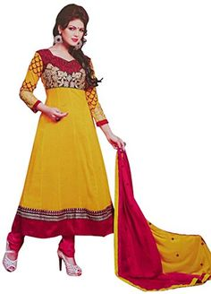 Anarkali Yellow Salwar Kameez Unstitched Georgette Suit Traditional Wear Dress ibaexports http://www.amazon.com/dp/B00WWZO59I/ref=cm_sw_r_pi_dp_FzP7vb1H6D9X8
