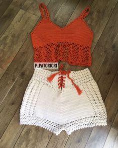 Bikini Crochet, Crochet Crop Top, Crochet Blouse, Crochet Mask, Knit Crochet, Crochet Shorts Pattern, Crochet Fashion, Handmade Clothes, Crochet Clothes