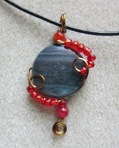 You Pick Pendant Teal Blue or Red Jasper wire by watercolorsNmore, $23.00