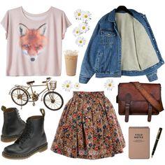 Love the fox tee idea with floral skirt!