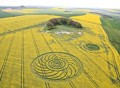 A crop circle is a sizable pattern created by the flattening of a crop, such as wheat, barley, rye, maize, or rapeseed.  Crop circles are also referred to as crop formations, because they are not always circular in shape.  Formations usually are made overnight, but have also been made during the day.