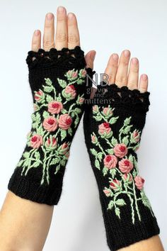 Knitted Fingerless Gloves, Black, Rose, Long, Clothing And Accessories,Gloves & Mittens,Gift Ideas