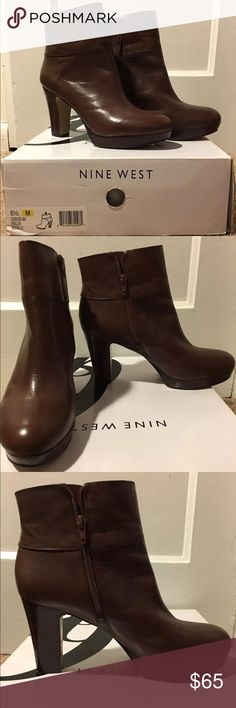 EUC brown leather boots Nine West brown leather boots.  1 inch platform, 4 inch heel.  Worn once, just need to clean out the closet! Nine West Shoes Ankle Boots & Booties