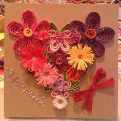 Heart of flowers; Valentine's day card by quilling