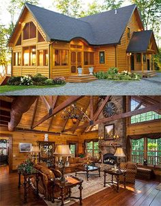 Cabins and cottages, log cabins, log cabin homes, barn homes, decore Log Cabin Living, Log Cabin Homes, Log Cabins, Barn Homes, Rustic Cabins, Cabin Design, House Design, Design Design, Casas Country