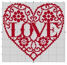 Free cross stitch pattern for Valentine's. 79 x 75 stitches. Use a nice bright red or variegated thread, stitch on any count.