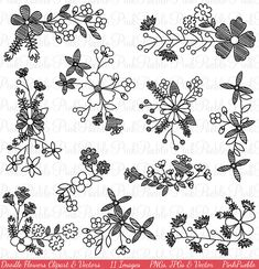 Doodle Flowers Clipart Clip Art Hand Drawn Sketched by PinkPueblo, $6.00