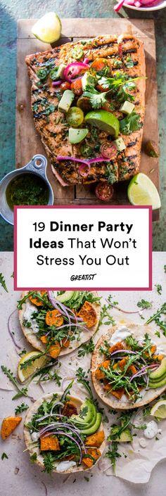 Dinner Party Recipes Main, Summer Dinner Party Menu, Casual Dinner Parties, Paleo Dinner, Holiday Dinner, Dinner Party Meals, Summer Menu Ideas, Italian Dinner Menu, Dinner Party Main Course