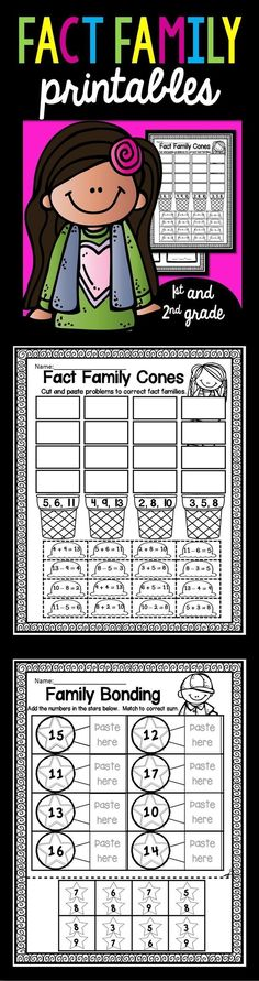 Do your students need practice learning about fact families, then this 43 page set of Addition and Subtraction Printables is just what you need. I have included a variety different ways for your students to get lots of practice. Kindergarten Math Games, Teaching Math, Math Activities, Teaching Tips, Preschool Math, Summer Activities, Fact Family Worksheet, Math Boards, Reading Comprehension Activities