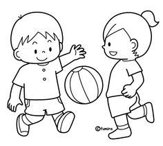 お友達とボール遊びをする男の子のイラスト(ぬりえ)