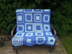 Blue+monkey+blue+squares+blanket+by+BlueMonkeyknitting+on+Etsy
