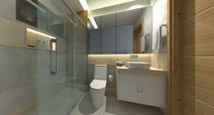Proposta de banheiro com revestimento com aparência de madeira, nicho para shampoo iluminado e armário com portas de espelho.