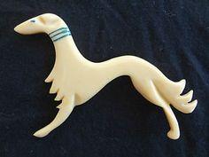 Bakelite Figural Greyhound Whippet Dog Pin Brooch-Blue Collar