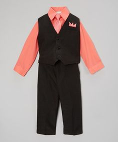 Look what I found on #zulily! Coral & Black Four-Piece Vest Set - Infant, Toddler & Boys #zulilyfinds
