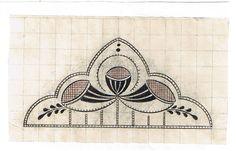Jugendstil/Art Nouveau Stickvorlage; graphisches Muster farbig gefaßt