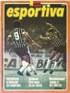 Geraldão e Romeu na partida final contra a Ponte Preta. Crédito: revista Manchete Esportiva N. 1 de 18 de outubro de 1977.