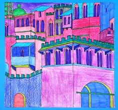 How changes the atmosphere of an ancient city if its colors are predominantly warm or cool? Here are the drawings of the students of grade 7: the walls and towers of medieval cities, which are inspired by paintings and frescoes of 1300, were colored with felt-tip pens and pencils, choosing warm or cool colors.