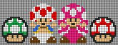 Alpha friendship bracelet pattern added by KotinKandy. toad toadette mushroom extra life big super mario world land video game nintendo. Melty Bead Patterns, Perler Patterns, Loom Patterns, Beading Patterns, Cross Stitch Patterns, Hama Beads, Fuse Beads, Minecraft Pattern, Pixel Pattern