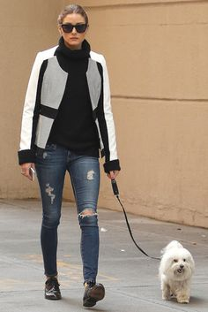 Olivia Palermo in distressed jeans, black sweater, black brogues, and black-and-white jacket. Estilo Olivia Palermo, Olivia Palermo Style, Glamour, Looks Style, Giovanna Battaglia, Ripped Jeans, Lanvin, Her Style, Passion For Fashion