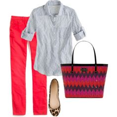 MK red cropped pants, grey jersey shirt or ON grey chambray shirt, black gladiator sandals or Geox wedges