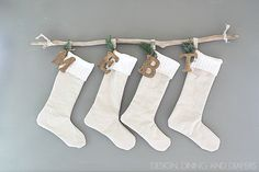 Don't have a mantel? Try hanging your stockings on a piece of driftwood. Great idea!