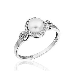 14K Solid White Gold Pearl Ring MLS019 by goldandtreasures on Etsy, $126.00